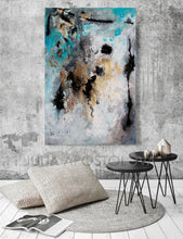 Large Wall Art, Gold  Leaf, Abstract Painting, Gray Gold Turquoise Black, Watercolor Abstract, Canvas Print, Modern Wall Decor, Calm After The Storm, Julia Apostolova, gray painting, interior, design, gold teal black, home decor, interior design, art collector