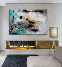Large Wall Art, Gold  Leaf, Abstract Painting, Gray Gold Turquoise Black, Watercolor Abstract, Canvas Print, Modern Wall Decor, Calm After The Storm, Julia Apostolova, interior, design, gold teal black, home decor, interior design, art collector