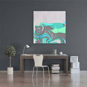White Silver Gray Turquoise Abstract, Canvas Print, Minimalist Painting, Minimal Art, Modern Decor, Abstract Seascape, Large Wall Art,Fine Artist Julia Apostolova, Interior, Decor, Home Decor, Office Decor, Minimalist, Living Room, Design Interior Designer