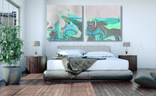 Abstract Seascape, White and Turquoise, Siver and Green, Canvas Art Print, Minimalist Painting, Minimal Art, Modern Decor, Large Wall Art, Part 2 of Diptych Painting, Julia Apostolova, Interior Design, Interior Designer, Home Decor, Modern Decor, Sea Abstract, Diptych, Ideas, Interior Ideas, Decor, Office Decor, Modern Art, Livingroom, Bedroom
