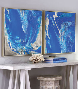 Blue Wall Art, Diptych, Cobalt Blue Painting, Blue and Silver, Julia Apostolova, Textured Blue Canvas with Silver Accents, Ready to Hang Print, Interior, Livingroom, Design, Minimalist Painting