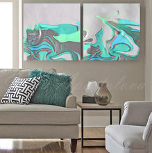 Abstract Seascape, White Turquoise Siver Green, Canvas Art Print, Modern Home Decor, Diptych Part 2