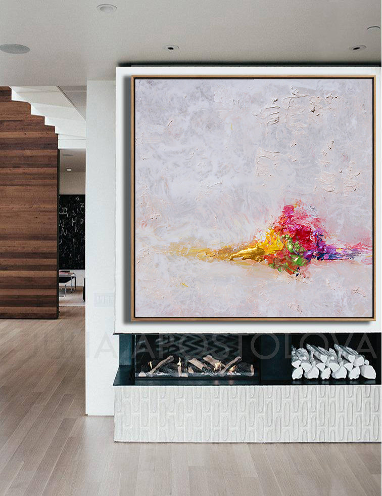 Minimalist Painting, White Abstract Print, Large Wall Art, Fireplace, Living Room, Interior, Modern Art, Ready To Hang, Large Canvas Artwork, White Abstract Painting, Zen Wall Decor