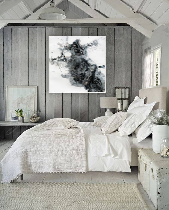 Black and White Abstract Wall Art Abstract Print on Canvas Modern ...