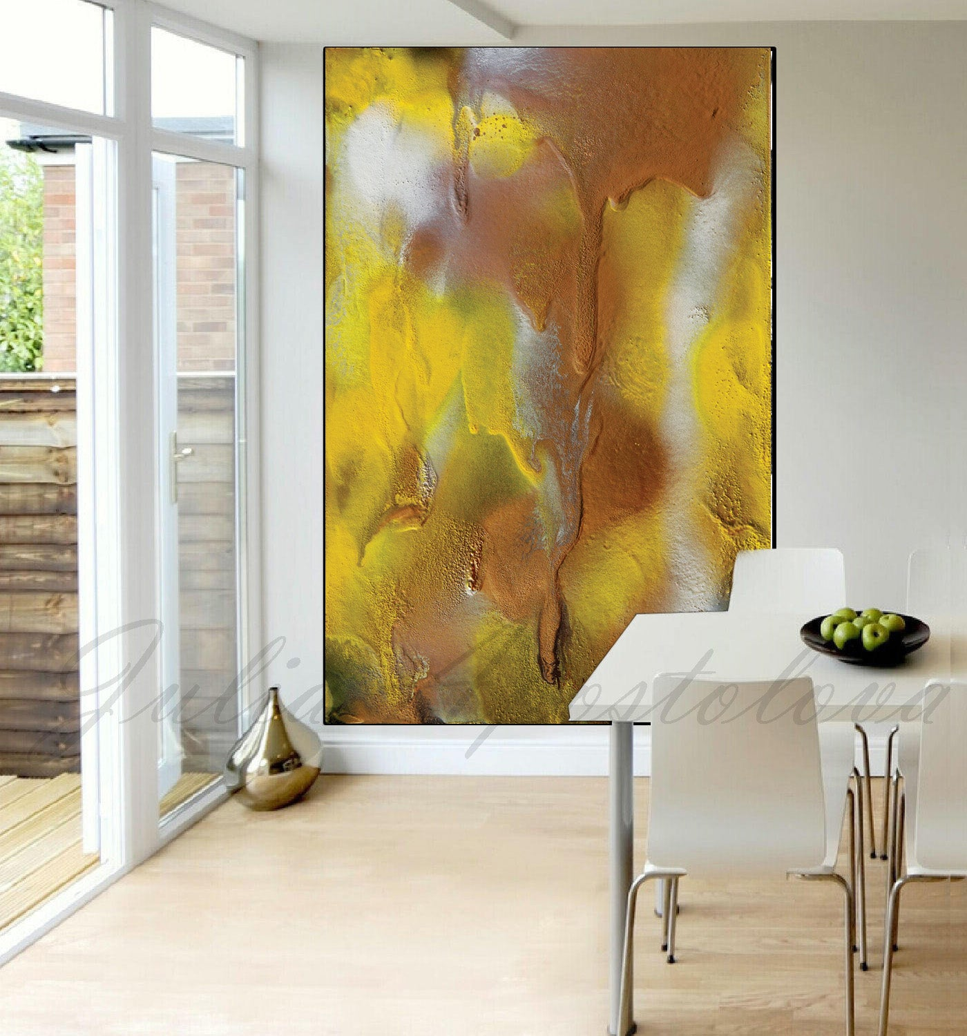 Yellow Copper Abstract Large Wall Art Canvas Print Summer Modern ...