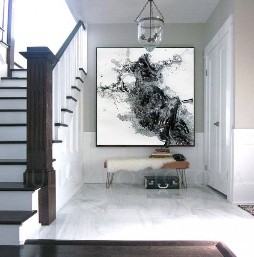 Black and White Abstract Wall Art Abstract Print on Canvas Modern