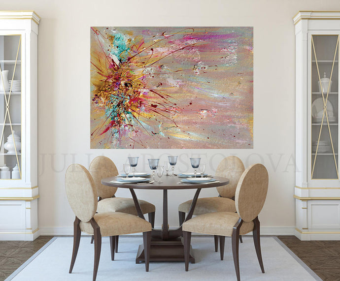 Original Abstract Painting Wall Art with Pastel Colours by Fine Artist Julia Apostolova
