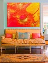 Orange Wall Art Decor, Abstract Print, Summer Painting, Orange Yellow Fine Art,  Julia Apostolova, orange home decor, interior design, interior designer, ideas, mandarin, gold, canvas