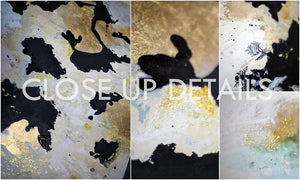Gold Leaf Painting, Luxury Wall Art Decor, Original Art, Julia Apostolova, Black White Gold Abstract Art, Glam Art, ''New Beginnings'', Gold Leaf Wall Art , livingroom, sophisticated art, glamorous art, Contemporary art, home, office, hotel, restaurant decor. Original Ready to Hang, Abstract Painting, Gold Leaf, shining accents, artist, interior, interiior design, designer, wall decor, close up details