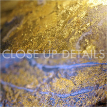 Blue Gold Abstract, Fluid Painting, Gold Leaf Art, Julia Apostolova, Ocean Painting, Coastal Decor, Interior, Canvas Print, Gold Leaf Metallic Shining Accents, close ups, Coastal Wall Art