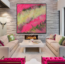 Pink and Gold Wall Art, Pink Champagne,  Julia Apostolova, Pink Abstract Painting, Modern Wall Art Home Decor, Large Print, Minimal Art, Pink Gold Abstract, Pink Interior, Decor, Design, Livingroom, Girl Kids Room Decor, Interior Designer, Canvas, Textured Canvas, Ready to Hang