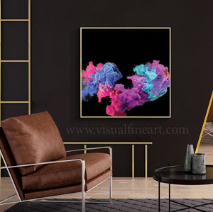 Purple Black Abstract Wall Art Contemporary Photography, Canvas Print, Modern Decor, Visual Wall Art