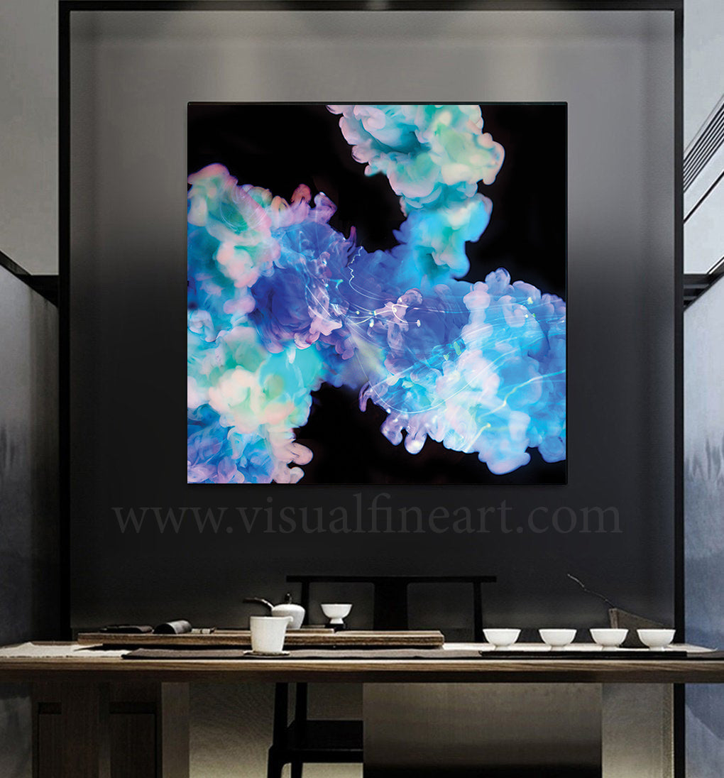 Visual Wall Art, Modern Decor, Abstract Photography, Blue Black Abstract Painting, Canvas Art Print