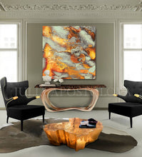 Autumn Decor, Large Wall Art, Modern Abstract Painting, Canvas Print, Autumn Spirit, Julia Apostolova, Gold Leaf, Gold, Copper, Gray, Abstract Painting, Watercolor Abstract, Canvas Print, Modern Wall Decor, Julia Apostolova, Extra Large Wall Art, Abstract Painting, Canvas Print Gold, Julia Apostolova, interior, design, home decor, lobby, hotel lobby decor, restaurant decor, interior designer, art collector