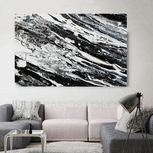 Modern Black and White Abstract Print, Ready To Hang, Large Wall Art, Print on Canvas, Black White Painting, Black White Modern Art, Contemporary Art by Julia Apostolova, Interior Design, Interior Designer, Lobby Decor, Hotel Decor, Minimalist Art, Living Room Decor, Luxury, Canvas Painting Print