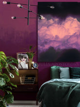 Black Purple Cloud Wall Art, Modern Canvas Print, Purple Clouds Black Minimalist Trendy Art Decor, Interior, Julia Apostolova, Hotel Lobby Decor, Interior Design Ideas, Art above bed, Interior Decoration, Interior Designers, Design, Modern Art, Cloudscape, Bedroom Art, Mystery