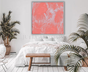 Coral Abstract Art, Coral Painting, Coral Wall Art, Minimalist Art, Julia Apostolova, Light Salmon Pink Wall Art Decor, Pastel Colors Canvas, Living Room, Bedroom, Offfice, Interior, Dercor, Girls Room Decor, Nursery, Design, Minimalist Art, Interior Designer, Art over Bed