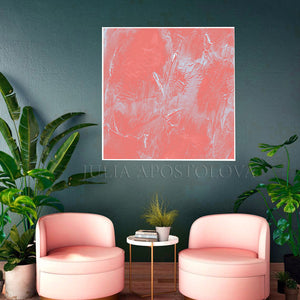 Coral Abstract Art, Coral Painting, Coral Wall Art, Minimalist Art,, Light Salmon Pink Wall Art Decor, Pastel Colors Canvas, Living Room, Bedroom, Offfice, Interior, Dercor, Girls Room Decor, Nursery, Design, Minimalist Art, Interior Designer