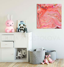 Coral Wall Art, Abstract Painting with Pink Peach Pastel Colors, perfect for Nursery Girl Room Decor