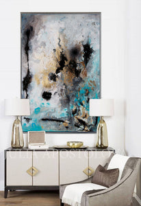 Large Wall Art, Abstract Print, Gray Gold Turquoise Black 'Calm After The Storm' by Julia Apostolova