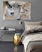 Gray Gold Black Wall Art, Modern Decor, Abstract Print from Series ''Milky Way'' by Julia Apostolova