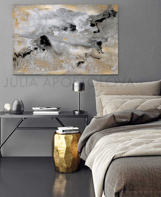 milky way, gold leaf painting, julia apostolova art, gold leaf art, interior, set of 2, black grey gold, watercolour, modern decor, happy clients, watercolor print, modern wall decor, wall art decor, wall art, contemporary two abstract prints, two abstract paintings, modern decor, canvas prints, golden accents, metallic accents, golden details, shining accents, sparkle art, interior design
