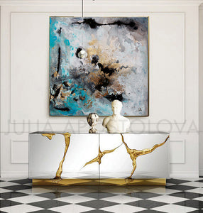 gold leaf art, set of 2, black grey gold teal, turquoise, watercolour, happy clients, watercolor print, modern wall decor, wall art decor, wall art, contemporary two abstract prints, two abstract paintings, modern decor, canvas prints