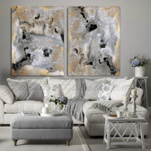 Gray Gold Black Wall Art Set, Gold Leaf Abstract Canvas Paintings 'Milky Way'(1&2), Julia Apostolova