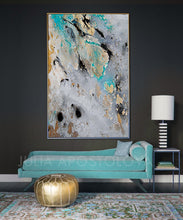 Gold Leaf Art Print, Modern Home Decor, Gray Teal Black, Large Wall Art Abstract, Julia Apostolova