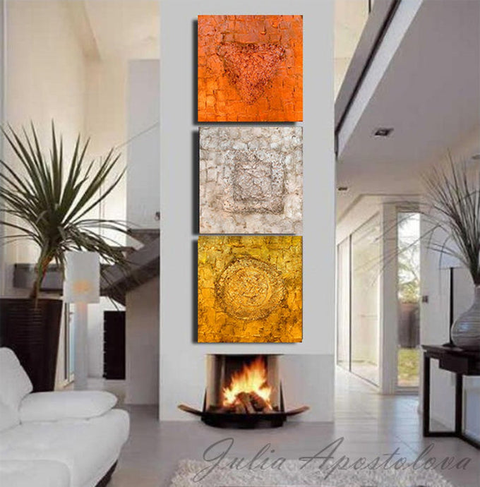 Gold Silver Copper Artwork, Set of 3 Abstract Art Prints, Minimalist Painting, Trinity Gold Triptych, Julia Apostolova, Glam Decor, Minimalist Wall Art, Modern Office Decor, Hotel Lobby, Abstract Wall Art , Minimal, Interior, Design, Interior Designer, Bronze, Gray, Grey