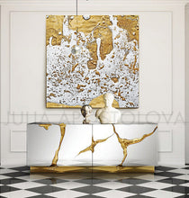 White Gold Abstract, Print, Large Wall Art, Modern Home Decor, Minimalist Painting, Diptych, Part 2