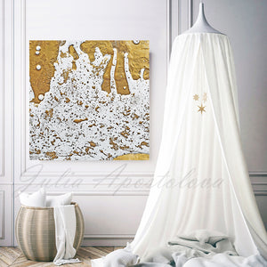 White and Gold Abstract Print, Gold Leaf Painting, Julia Apostolova, Modern Wall Decor, Ready to Hang Art, Minimalist Painting, Gold Leaf Print, Gold Leafing, Gold Leaf Artwork, Large Wall Art, Bedroom, Children Room, Interior Decor
