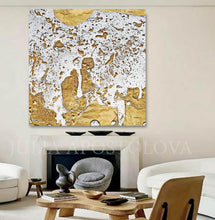 White Gold Abstract Print, Gold Leaf Painting, Julia Apostolova, Modern Wall Decor, Ready to Hang Art, Minimalist Painting, Gold Leaf Print, Gold Leafing, Gold Leaf Artwork, Large Wall Art, Bedroom, Interior Decor