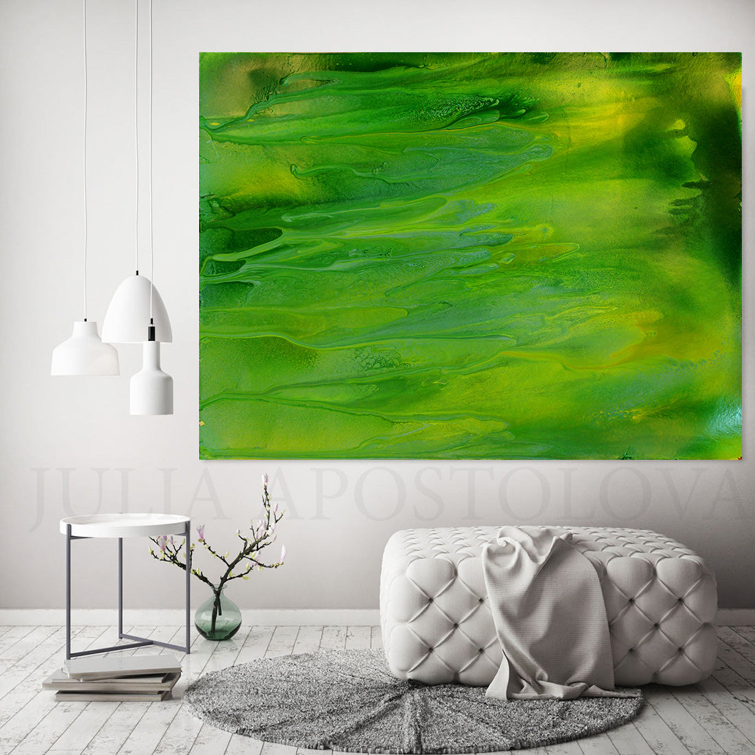 Green Abstract Painting Large Wall Art Canvas Print Green