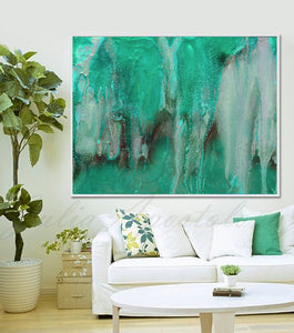 Turquoise Green Wall Art Zen Painting, Abstract Watercolor, Teal Landscape Canvas Print, Seascape Art, julia apostolova, teal wall art, minimalist painting, seascape, abstract seascape, watercolor art, canvas wall art, large painting