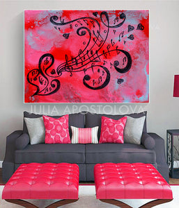 Pink Musical Painting, Love Art, Girl Room Wall Art Decort, Canvas Print with Music Notes and Hearts, Musical Wall Art, Music Notes, Sol Key, Music Gifts, Art Gift, Interior, Kids Room, Pink and Black, Pink Abstract, Pink Wall Art