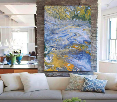 Blue Gold Abstract, Fluid Painting, Gold Leaf Art, Julia Apostolova, Ocean Painting, Coastal Decor, Interior, Canvas Print, Gold Leaf Metallic Shining Accents, Coastal Wall Art