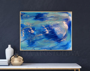 Ocean Abstract Painting, Interior, Modern Art, Blue Silver Large Wall Art, Abstract Seascape, Canvas Print, Blue Minimalist Painting, Blue Minimal Art, Sea Abstract, Interior Ideas, Decor, Interior designer, Interior idea Julia Apostolova
