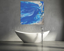 Blue and Silver Painting, Ocean Abstrac Wall Art, Julia Apostolova, Large Modern Art Print, Gift for Him, Cobalt Blue, Bathroom, Interior, Decor, Modern Art