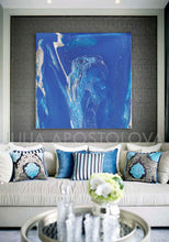 Blue Wall Art, Cobalt Blue Painting, Textured Blue Canvas with Silver Accents, Ready to Hang Print