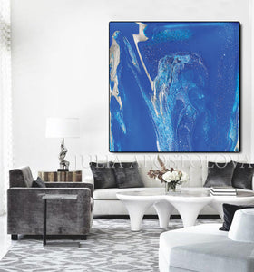 Blue Wall Art, Cobalt Blue Painting, Julia Apostolova, Textured Blue Canvas with Silver Accents, Ready to Hang Print, Interior, Livingroom, Design, Minimalist Painting