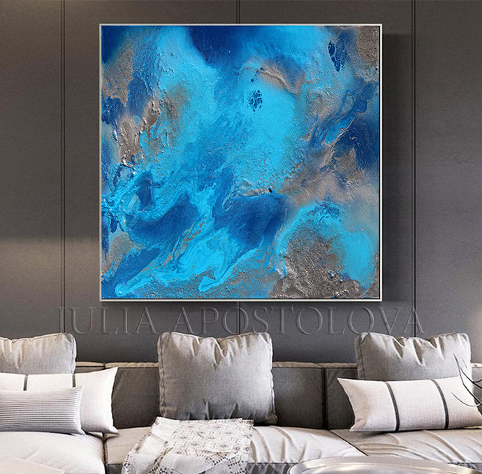 Blue and Gray Ocean Wall Art,Turquoise Blue Abstract Painting,Ocean Print, Gift for Him,Office Decor