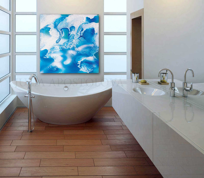 Spa Wall Art Bathroom Decor Abstract Ocean Painting, Sea Waves, Turquoise Blue White Canvas Print, Julia Apostolova, Ocean Wall Art, Ocean Abstract Canvas, Nautical Decor, Kids Room Art, Bedroom Art, Bathroom Art, Interior Decor, Design, Living Room, Hotel Decor, Home Decor, Interior Designers, Airbnb Decor