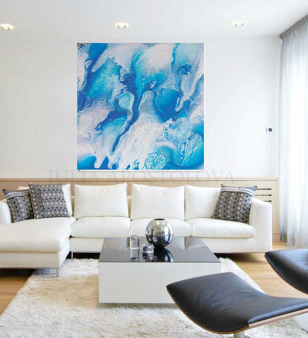 Square Abstract Art Canvas Print, Coastal Decor, Blue White Azure Wall Art, Spa Bathroom Decoration, Spa Wall Art, Bathroom Decor, Julia Apostolova, Abstract Ocean Painting, Sea Waves, Turquoise Blue White Canvas Print, Ocean Wall Art, Ocean Abstract Canvas, Nautical Decor, Kids Room Art, Bedroom Art, Bathroom Art, Interior Decor, Design, Living Room, Hotel Decor, Home Decor, Interior Designers, Airbnb Decor