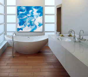Spa Wall Art Bathroom Decor Abstract Ocean Painting, Sea Waves, Turquoise Blue White Canvas Print, Ocean Wall Art, Ocean Abstract Canvas, Nautical Decor, Kids Room Art, Bedroom Art, Bathroom Art, Julia Apostolova, Interior Decor, Design, Living Room, Hotel Decor, Home Decor, Interior Designers, Airbnb Decor