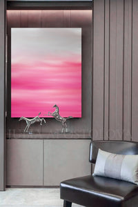 Pastel Abstract Pink White Oil Painting, Modern Minimal Large Wall Art Canvas Print, Julia Apostolova, Pink White Wall Art, Pink Minimalist Painting, Interior, Decor, Office, Art Gift for Her