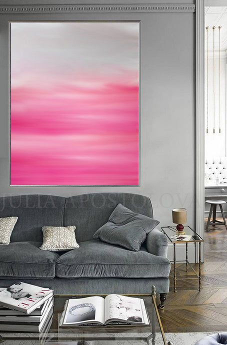 Pastel Abstract Pink White Oil Painting, Modern Minimal Large Wall Art Canvas Print, Julia Apostolova, Pink White Wall Art, Pink Minimalist Painting