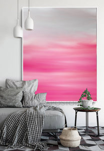 Pastel Abstract Pink White Oil Painting Modern Minimal Large Wall Art Canvas Print, Julia Apostolova