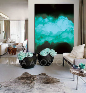 Black Teal Abstract, Cloud Painting Print, Turquoise Green, Wall Art Minimalist Home Office Decor, Julia Apostolova, Cloud Painting, Cloud Wall Art, Minimalist Painting, Dreamy Decor, Trendy Decor, Wall Art Cloud, Bedroom Wall Decor, turquoise wall art, Livingroom, Office Decor, Abstract Clouds, Interior, Design, Black and Teal Interior Designer, minimalist turquoise painting, Photography