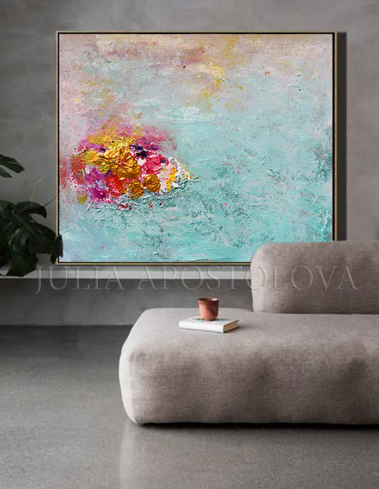 Turquoise Wall Art, Minimalist Painting, Abstract Seascape, Zen Art, Coastal Decor, Modern Decor, Elegant Decor, Julia Apostolova, Bedroom Art, Relaxing Art, Zen Painting, Zem Art Decor, Minimal Art, Coastal Abstract Beach Art, Canvas